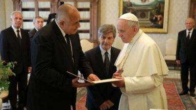 Борисов  ще подари икона, омофор и българско  кисело мляко на папа Франциск