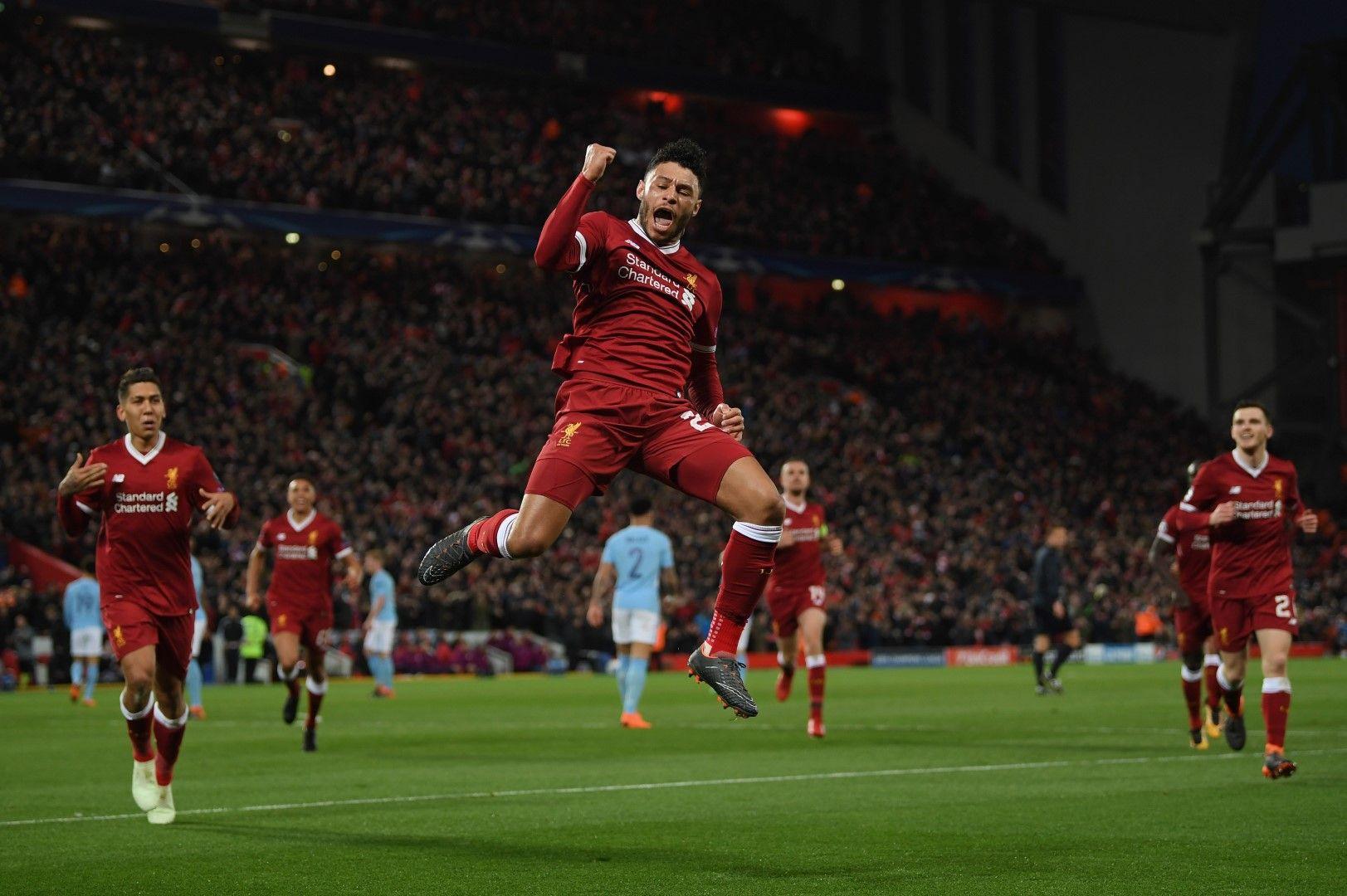 """2018 г., Алекс Окслейд Чембърлейн бележи срещу Манчестър Сити - 3:0 в първите 30 минути! И всичките голове влизаха във вратата пред """"Коп"""""""