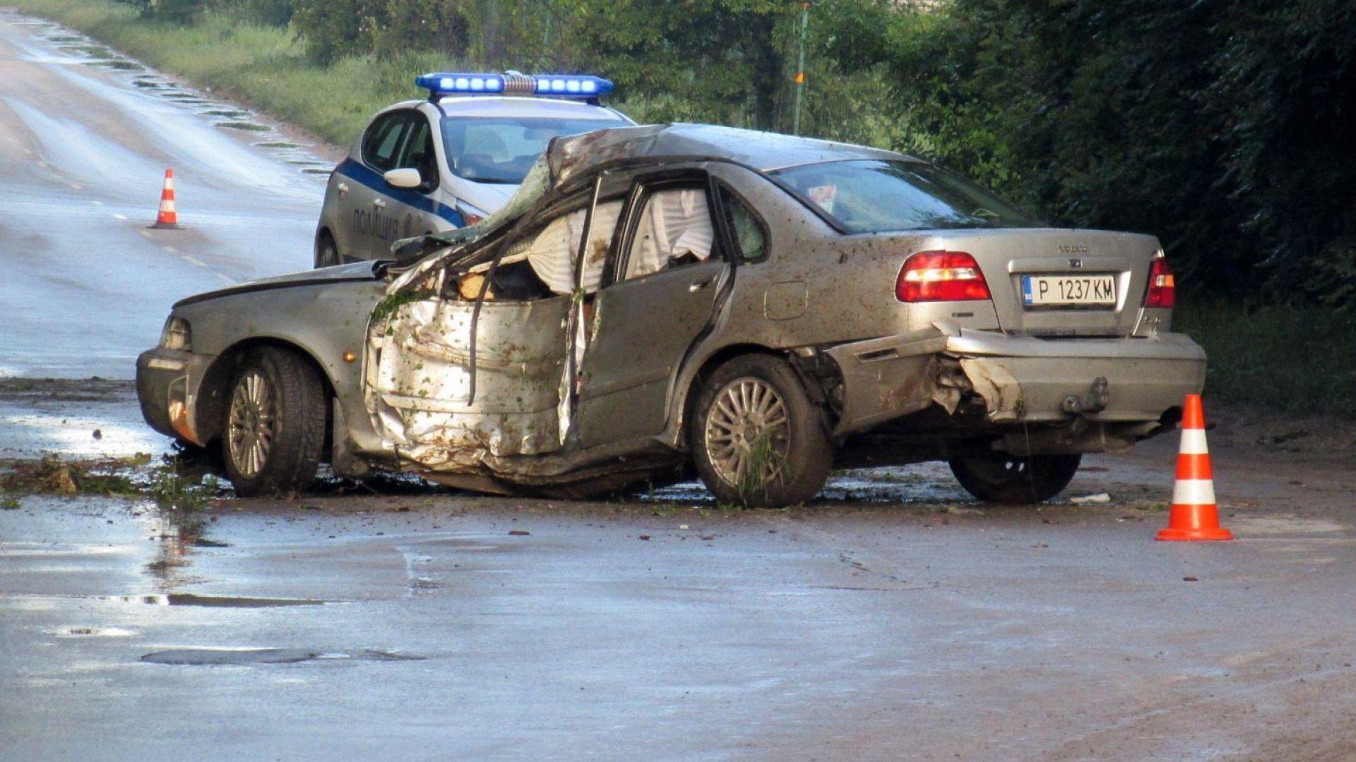 Двама тежко ранени след удар на кола в дърво (снимки)