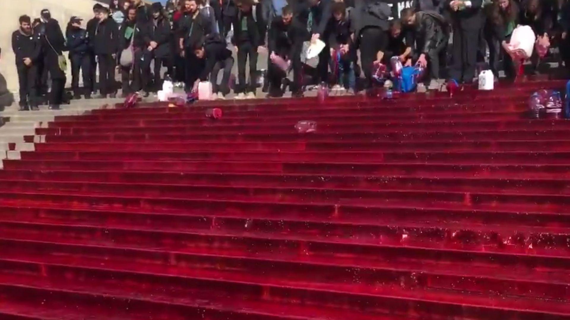 """Френски екоактивисти заляха стълбите на Трокадеро с 300 литра """"кръв"""" (видео)"""