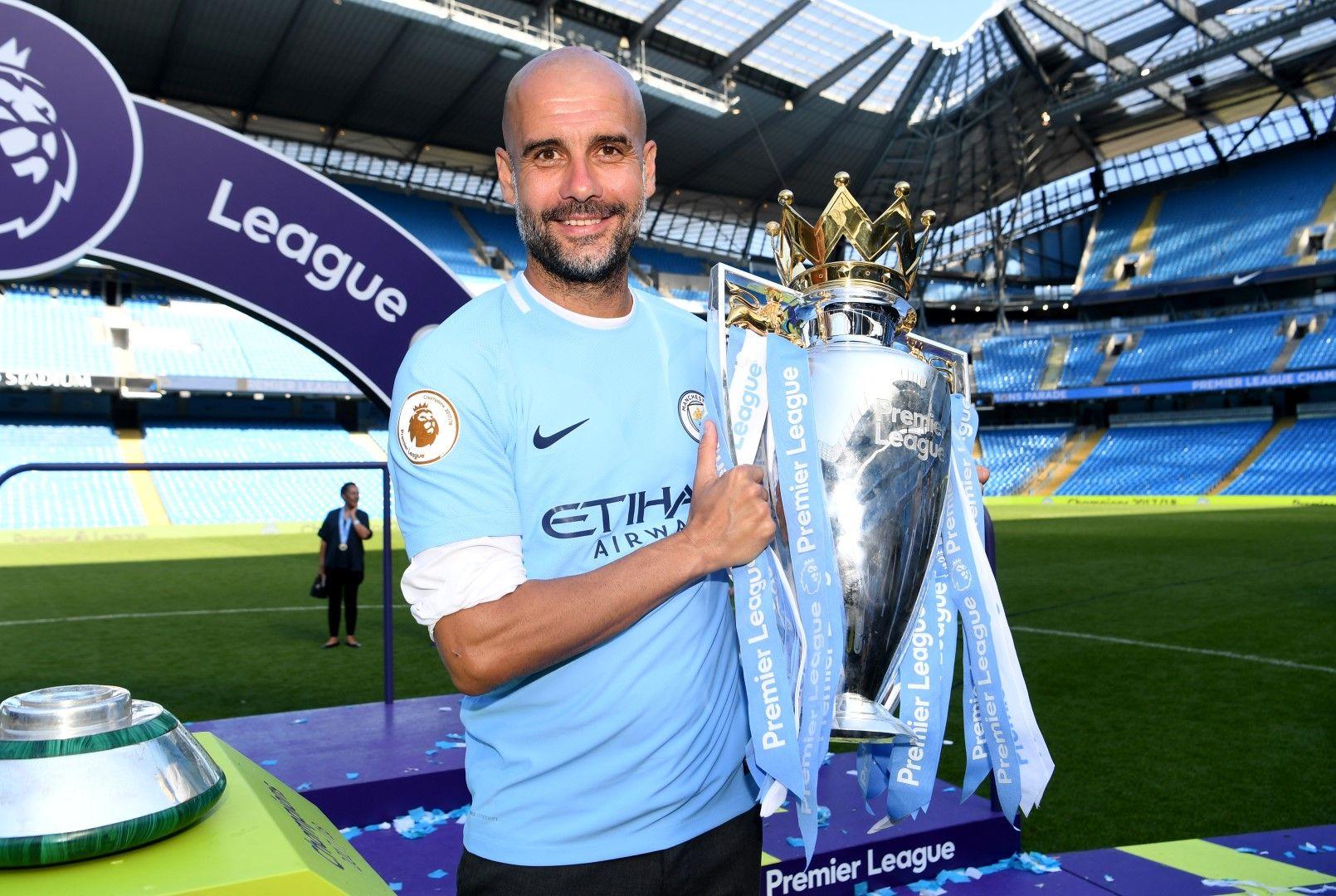 Шампион за първи път с Манчестър Сити, май 2018 г.