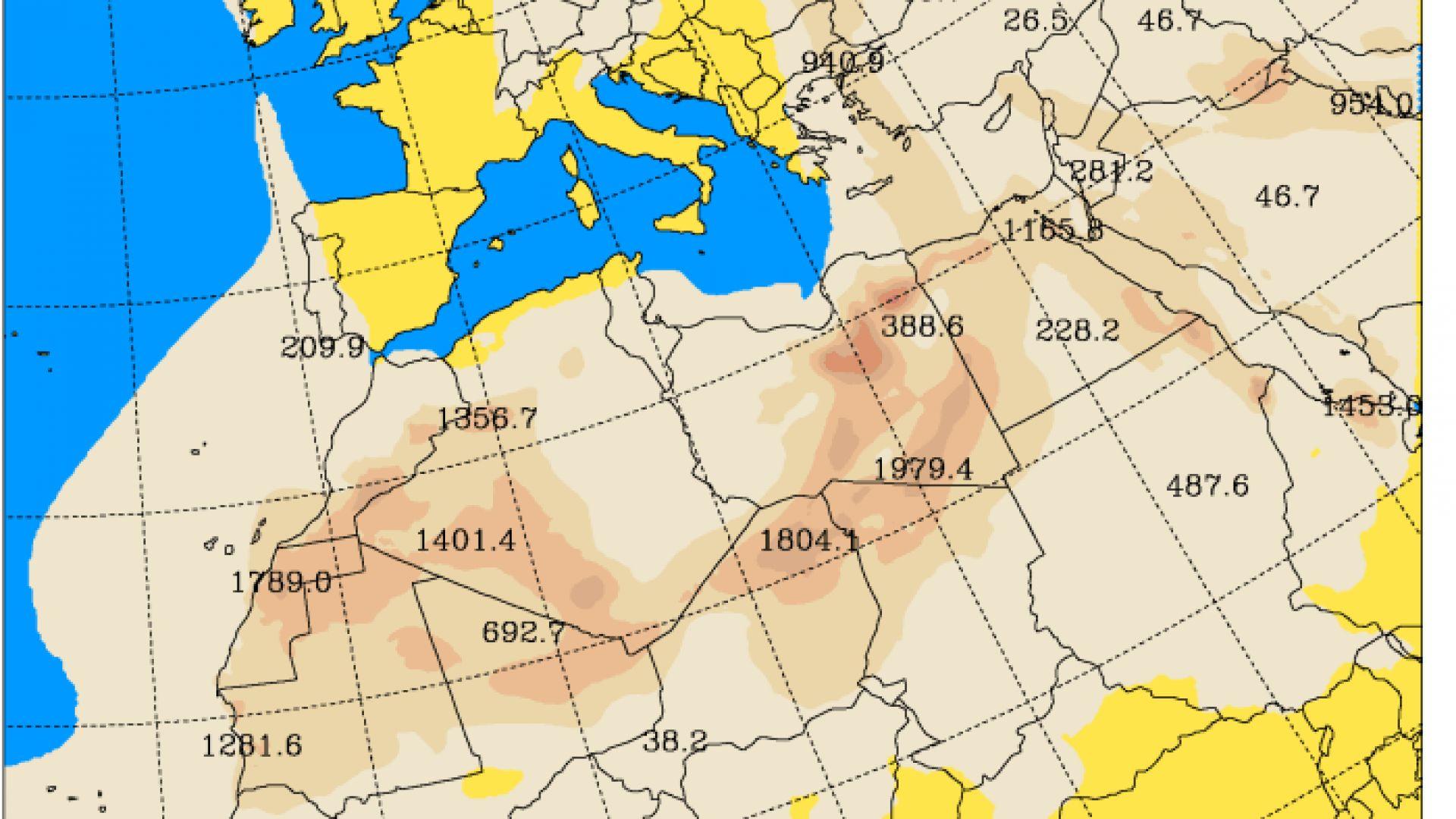 Очаквана концентрация на прахови частици днес към 15 часа българско  време