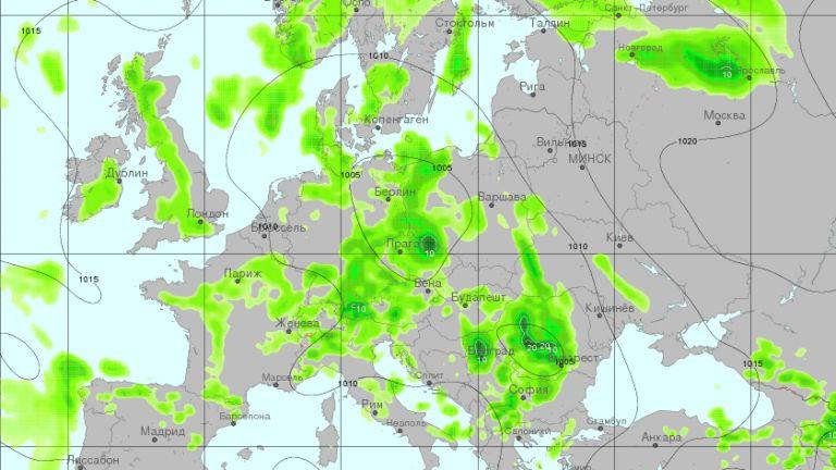 Очаквани валежи за 12-часов период от 12 до 24  часа в понеделник, според модела GFS,интерпретация на  meteoinfo.by