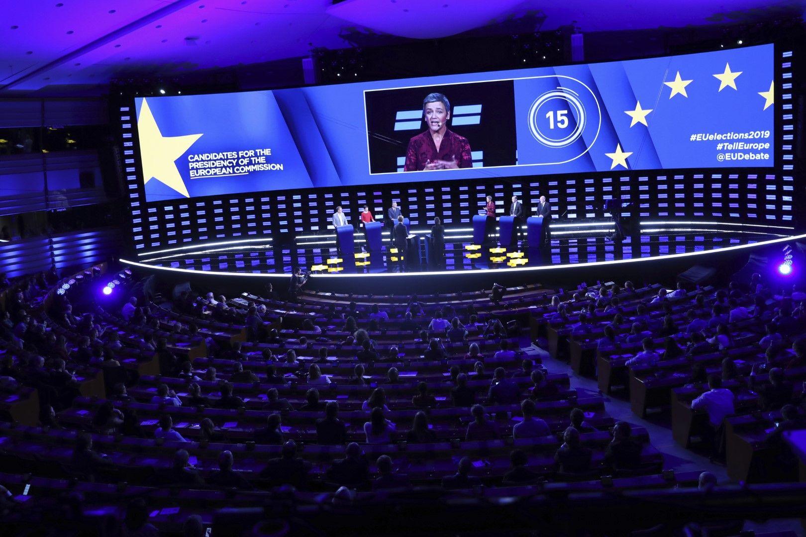 Дебати на кандидатите за председател на Европейската комисия, 15 май. На екрана е Маргрете Вестагер