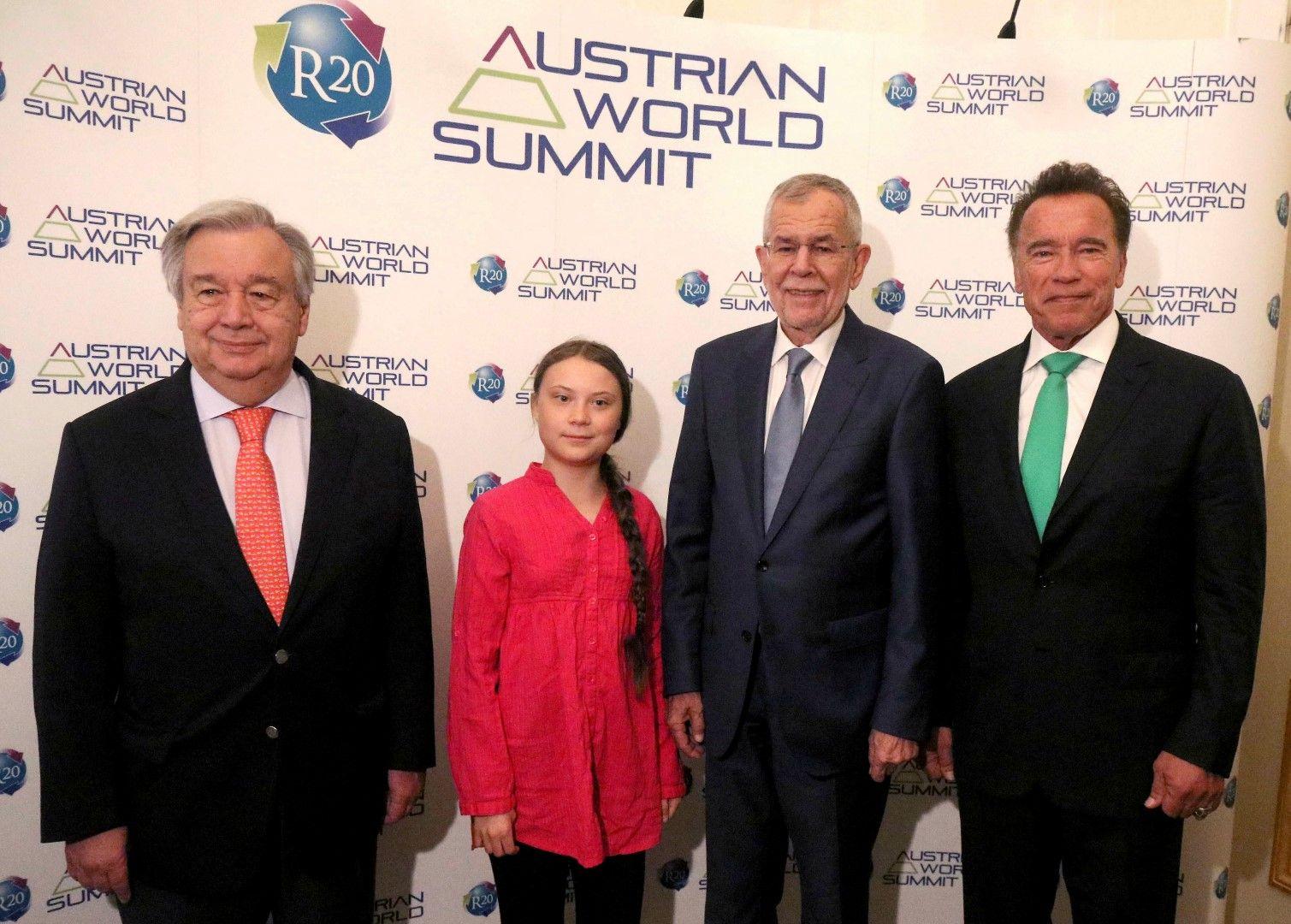 Антониу Гутериш, Грета Тунберг, президентът на Австрия Александър Ван дер Белен и Арнолд Шварценегер