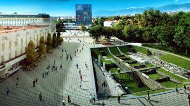 827fe2efcc0 назад Централният площад на Пловдив с течаща река и археология в зелен килим