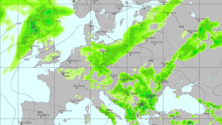 Очаквани валежни количества за 3-часов период от 12 до 15 часа днес следобед
