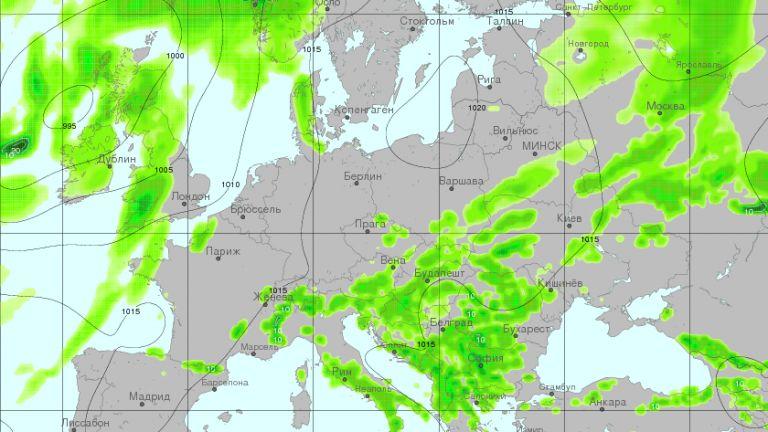 Очаквани валежи и разпределението им в неделя в следобедните часове