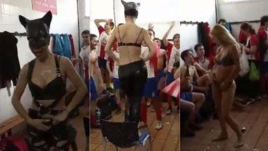 Испански клуб се извини, защото празнува промоция със стриптизьорка (видео)