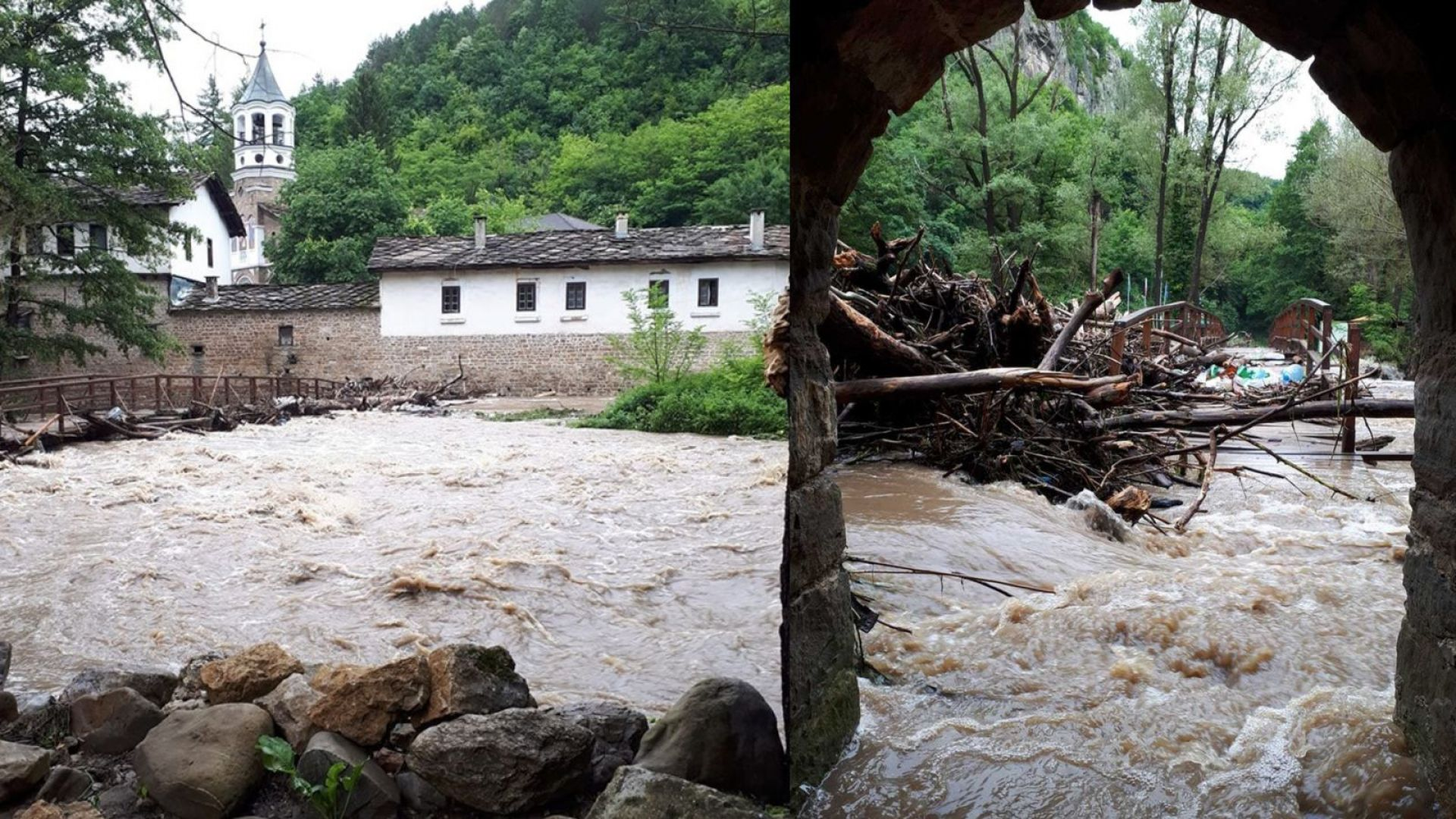 Бурята разруши и емблематичния дървен мост край Дряновския манастир