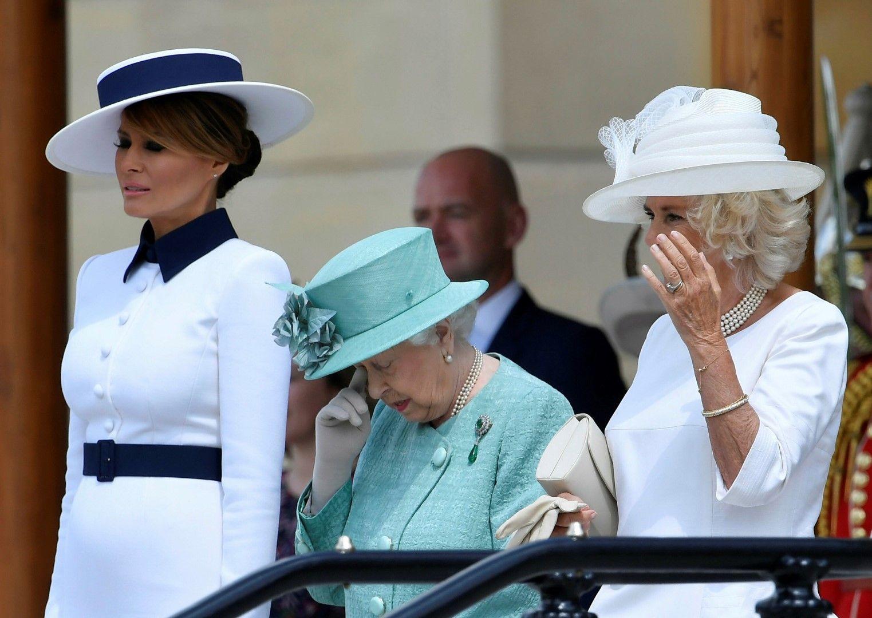 Трите жени в церемонията: Мелания Тръмп, кралица Елизабет Втора и Камила, дукесата на Корнуел