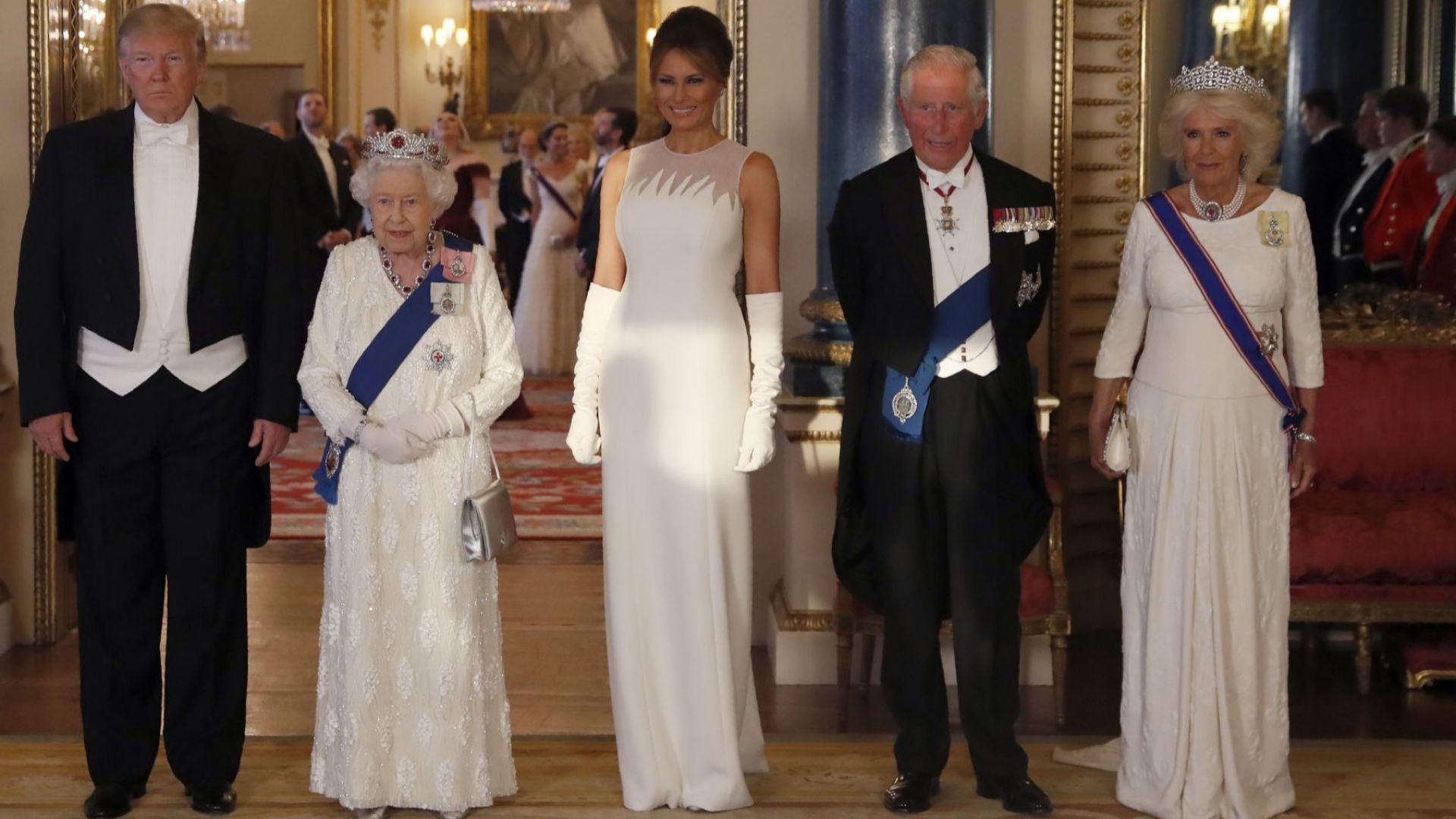 Доналд Тръмп, Елизабет II, Мелания Тръмп, принц Чарлз и Камила