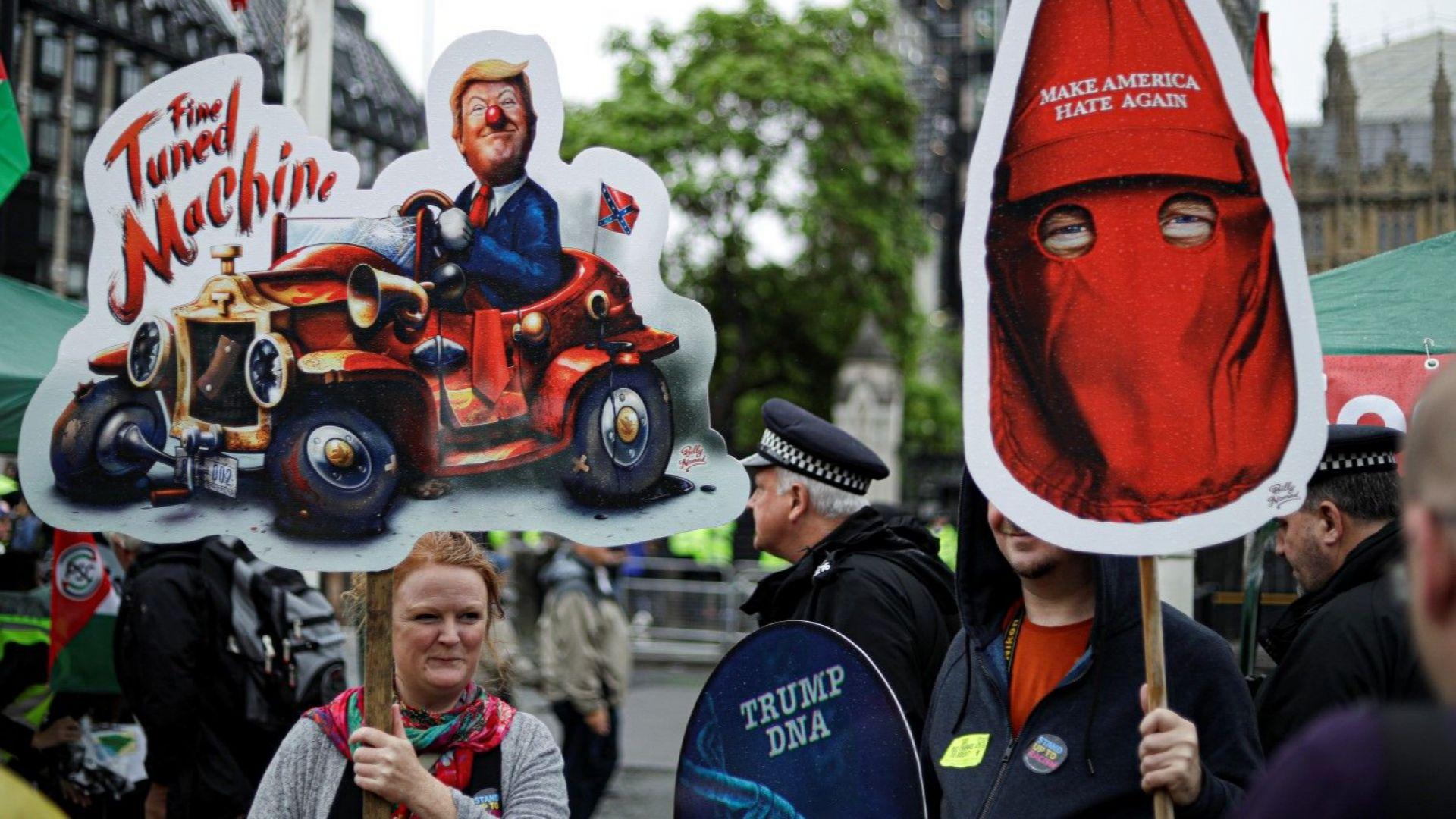 Хиляди хора се събраха на демонстрации срещу Доналд Тръмп в центъра на Лондон