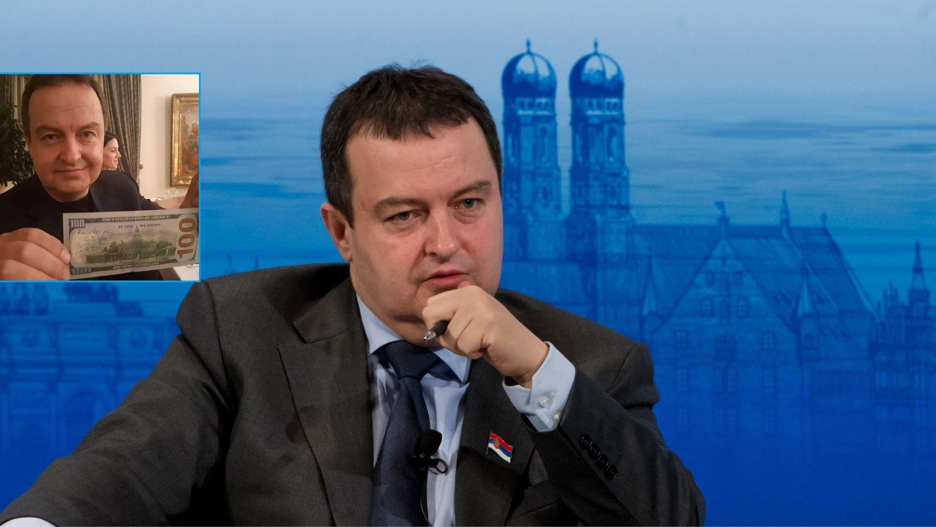 """Дачич написа """"Косово е Сърбия"""" на банкнота от $100, САЩ се възмути"""