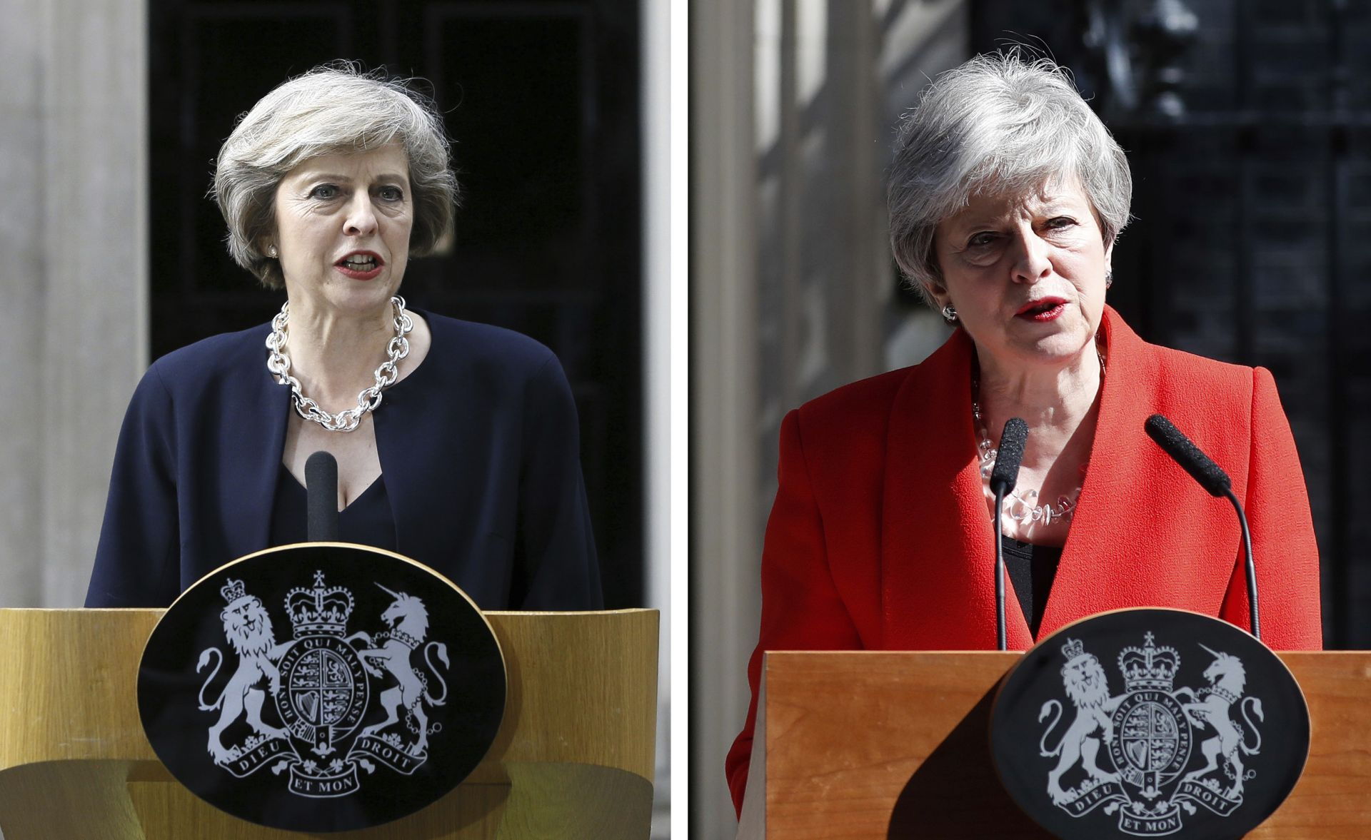 Тереза Мей през 2016, когато стана премиер, и сега...