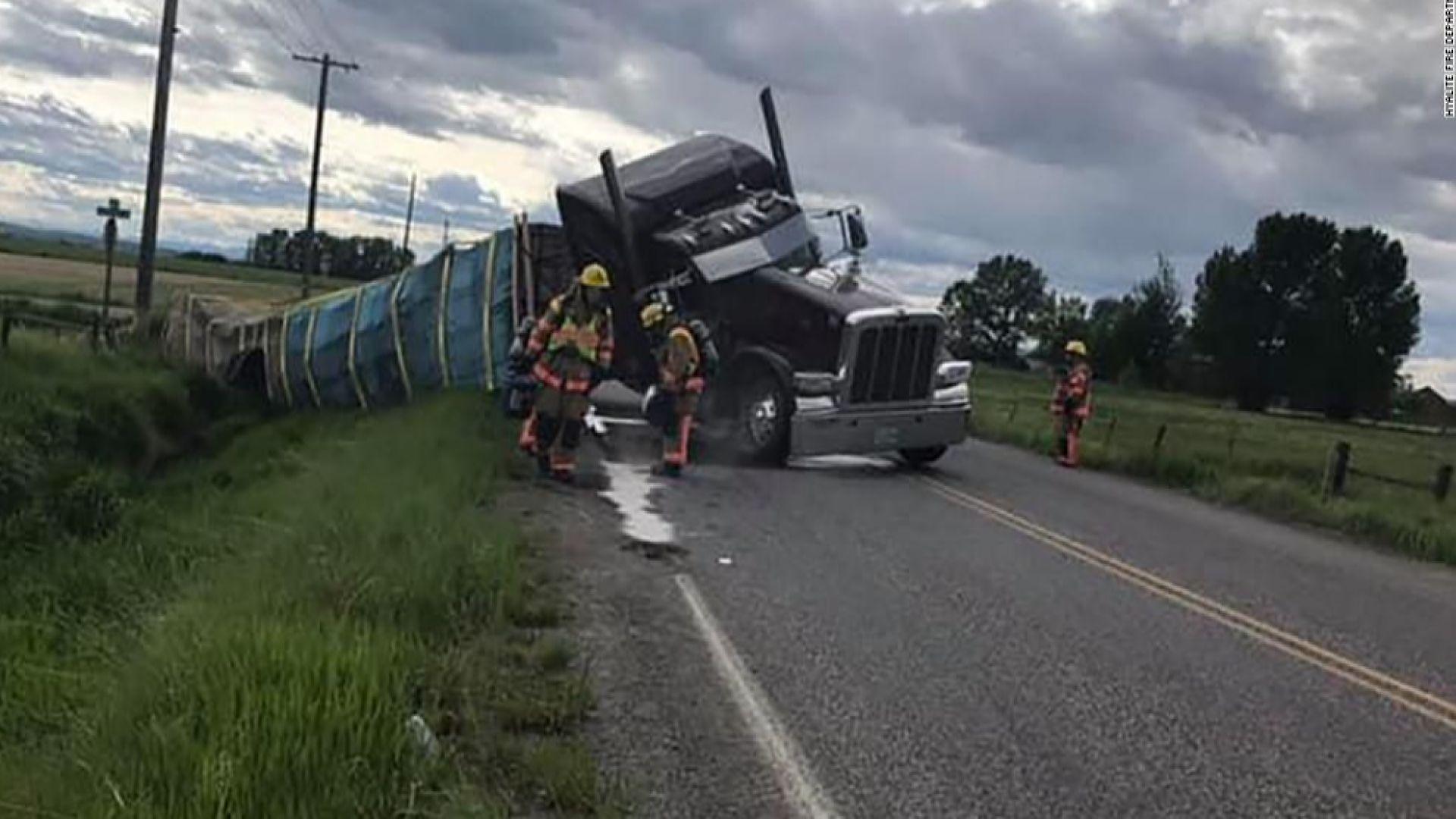 Камион се обърна в американския щат Монтана заради шофьорска грешка