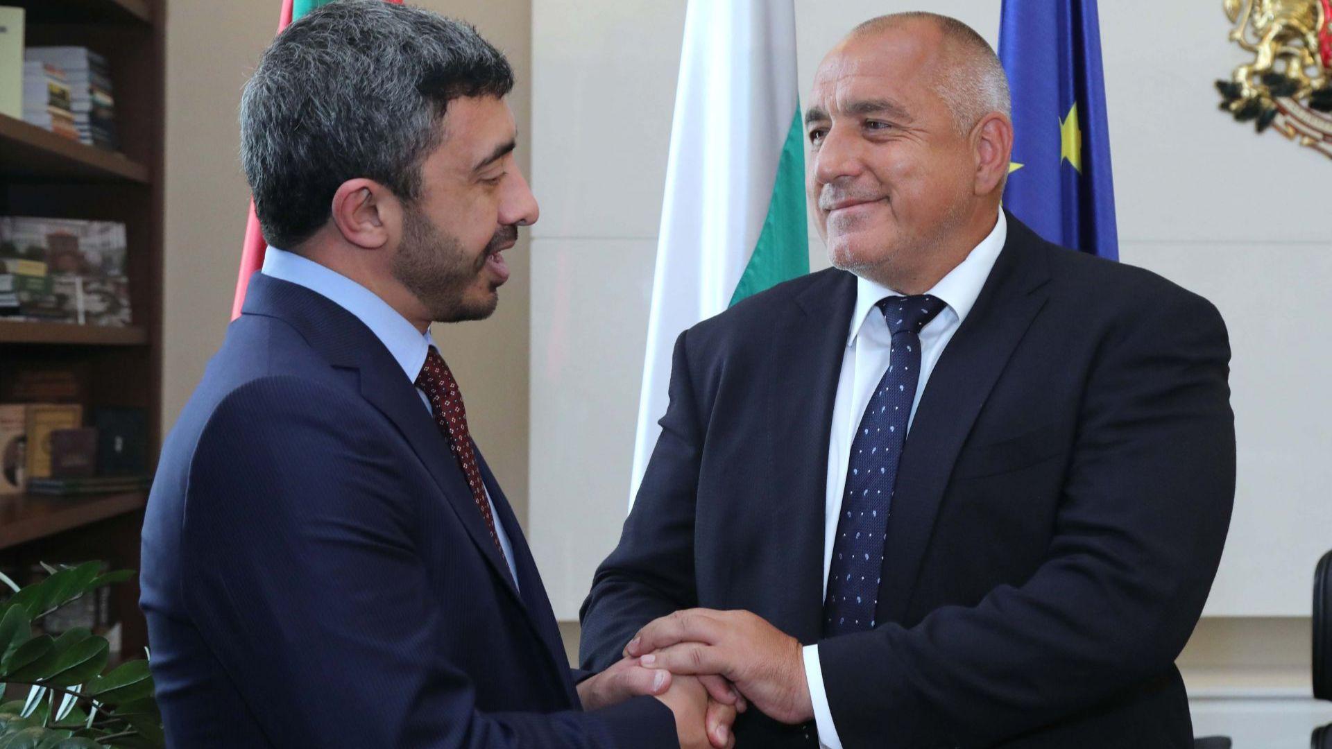 Борисов към министъра на външните работи на ОАЕ: Важно е да продължим активно сътрудничеството си