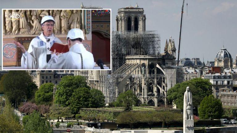 """Свещеници с каски отслужиха първа литургия в """"Нотр Дам"""" след пожара (видео)"""