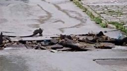 Порой заля Котел, реката излезе от коритото си и наводни къщи
