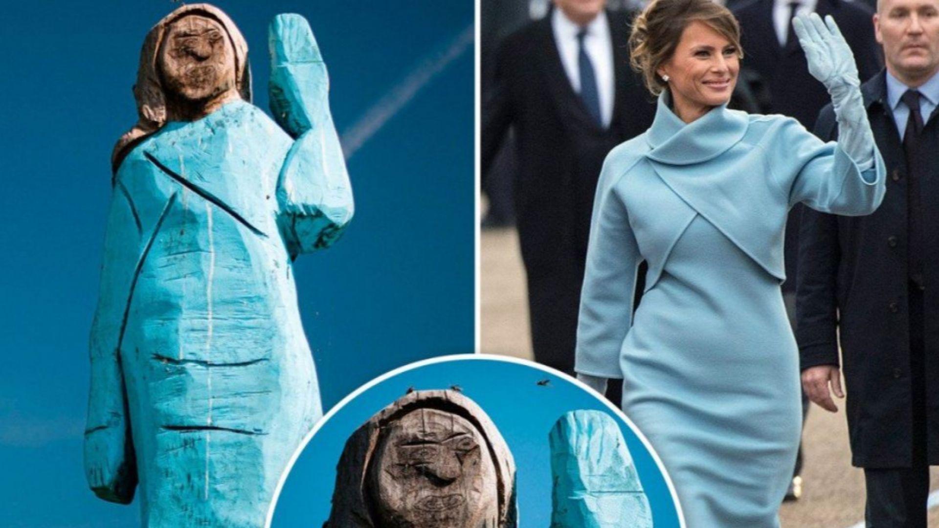 Дървена статуя на Мелания Тръмп в родния й град предизвика противоречиви реакции