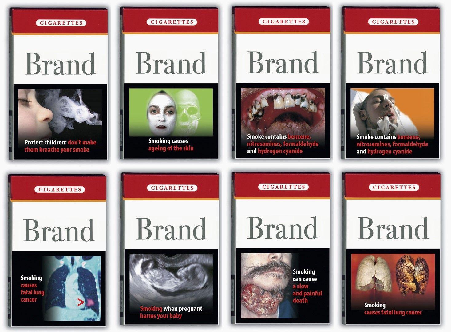 Предложения за изображения върху цигарени кутии, разглеждани от Европейската комисия през 2004 г.