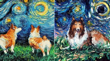 Художничка прави кучета главни герои  в картина на Ван Гог