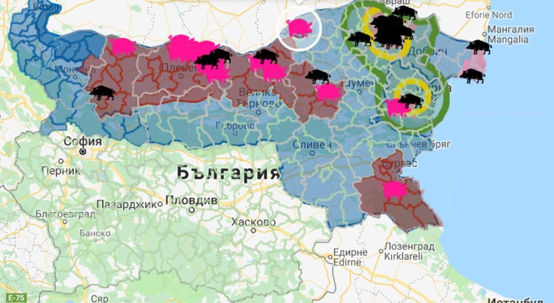 Обхват на 3 и 10-километровите зони с АЧС