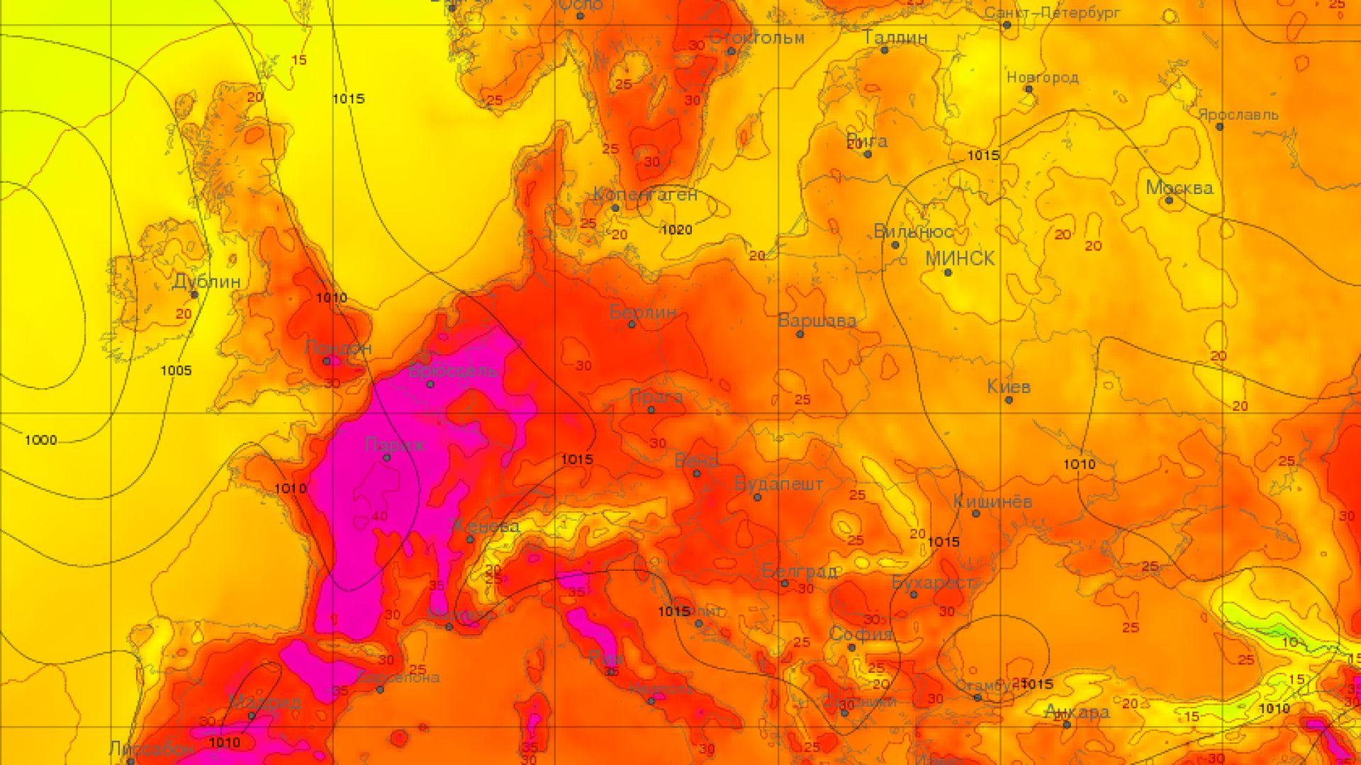 Карта на очакваните максимални температури днес