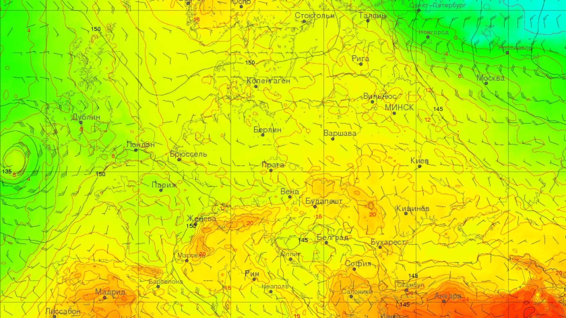 Карта на очакваното разпределение на температурата във височина в началото на следващата седмица. Виждат се северните ветрове и ненормално студената въздушна маса над Източноевропейската равнина