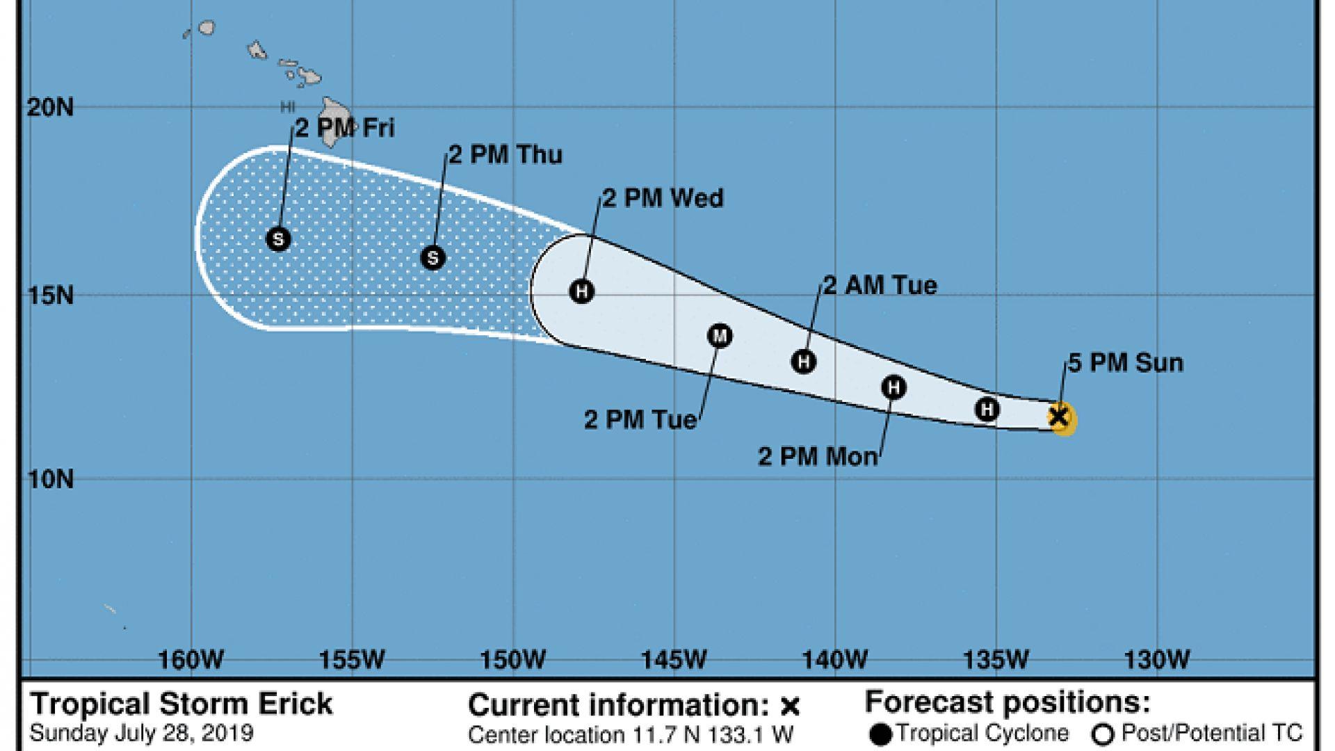 Ерик ще мине южно от Хаваите, но все пак ще предизвика бурни и ураганни ветрове