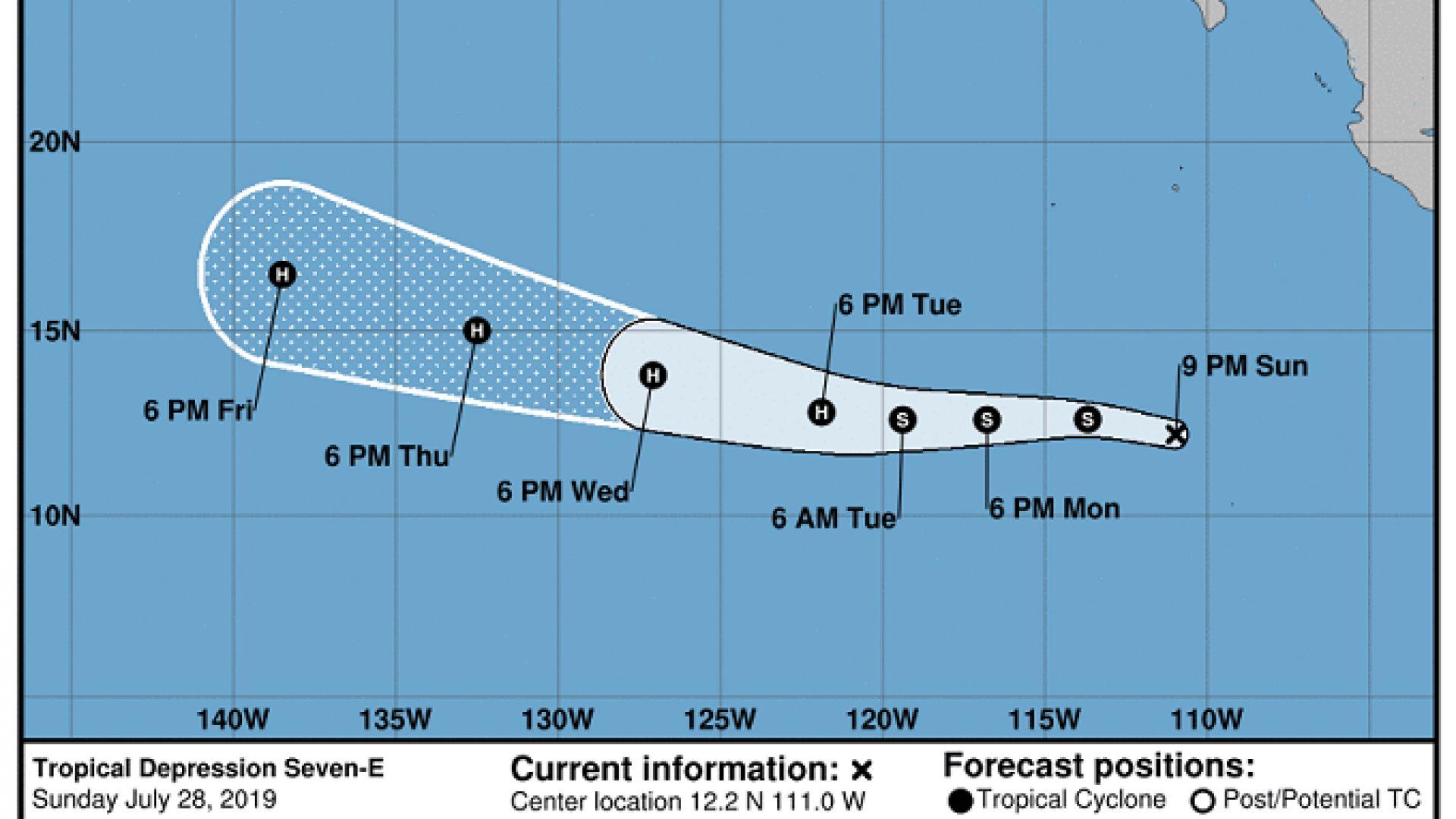 Флоси е още далеч на изток, но според актуалните прогнози Хаваите лежат точно на пътя на траекторията му