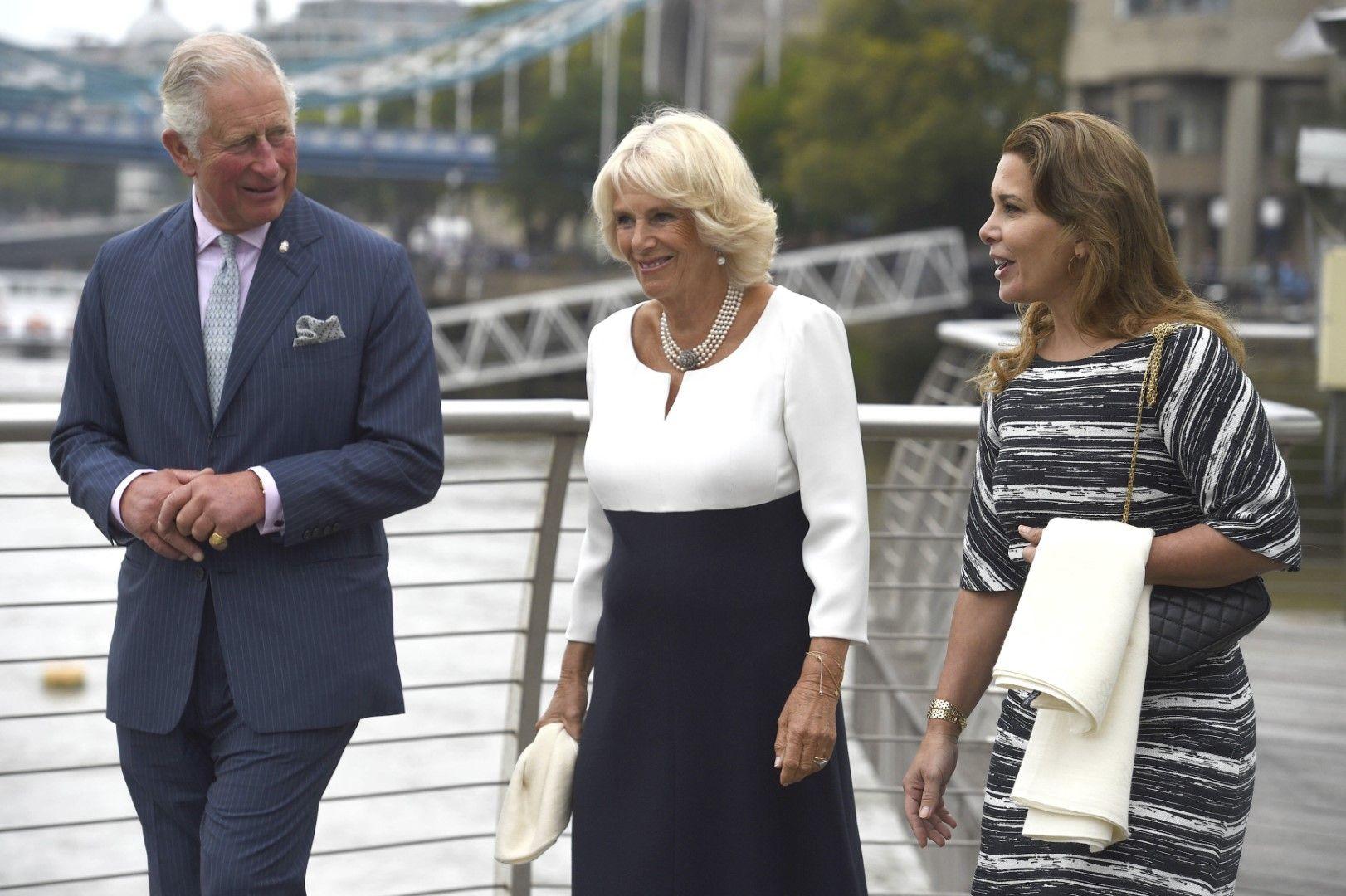 Принцеса Хая (вдясно) се разхожда в Лондон с принц Чарлс и Камила, 5 септември 2018 г.
