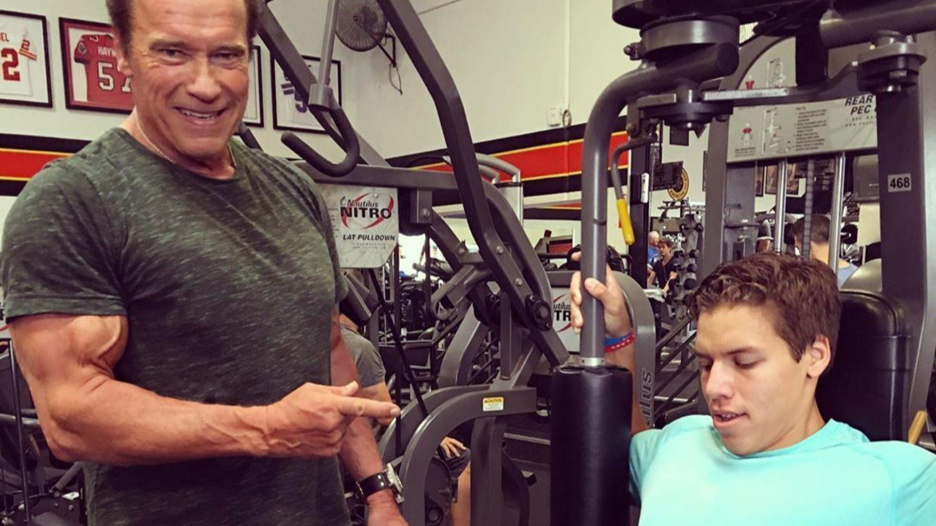 Арнолд Шварценегер и извънбрачният му син тренират заедно