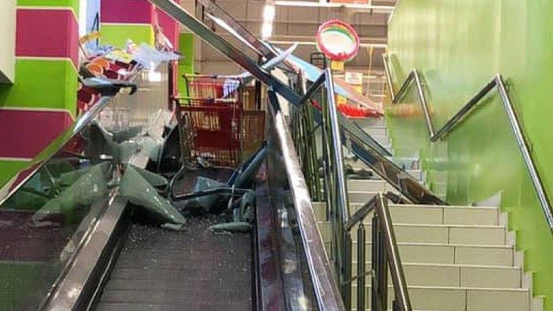 Бурята потроши голямо стъкло на хипермаркет във Варна, има пострадали