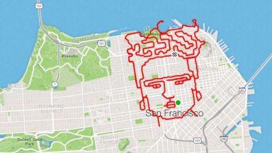 Маратонец рисува портрет на Фрида Кало, бягайки из Сан Франциско