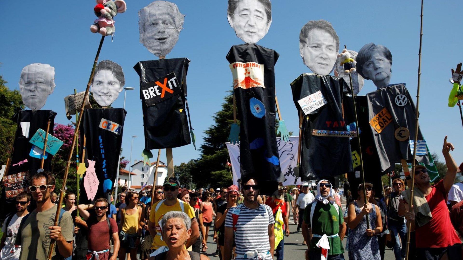 Хиляди на протест срещу Г-7