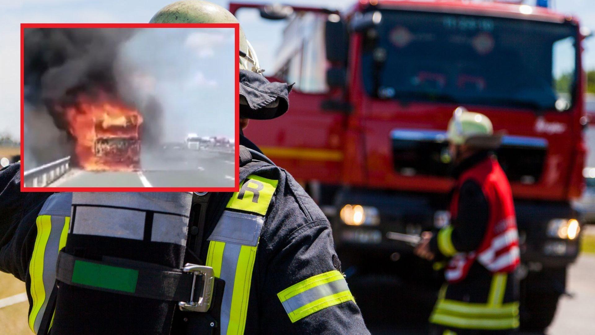 Камион изгоря на АМ Струма и блокира част от движението (видео)