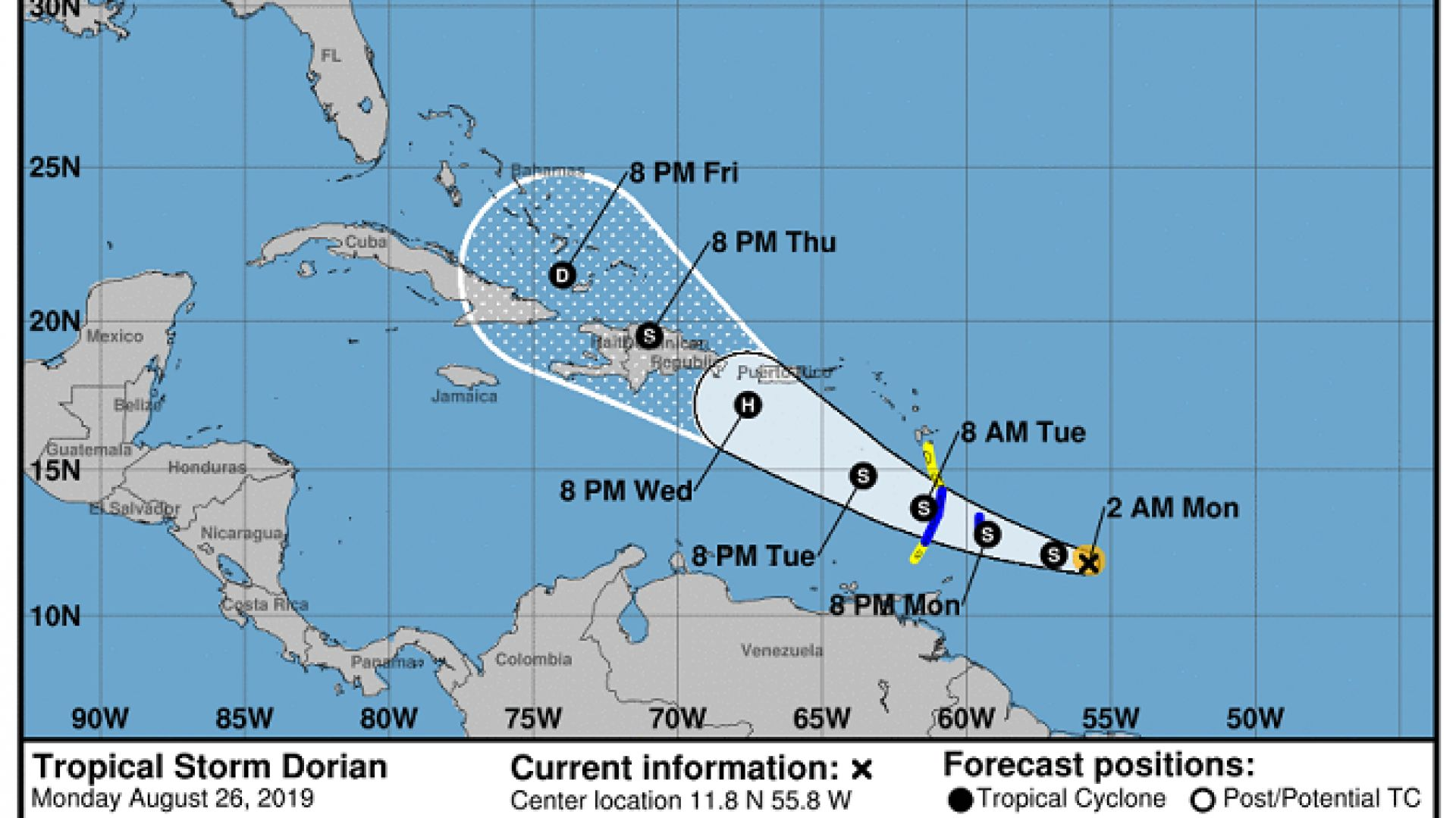 Ураганът Дориан приближава Антилите и Флорида