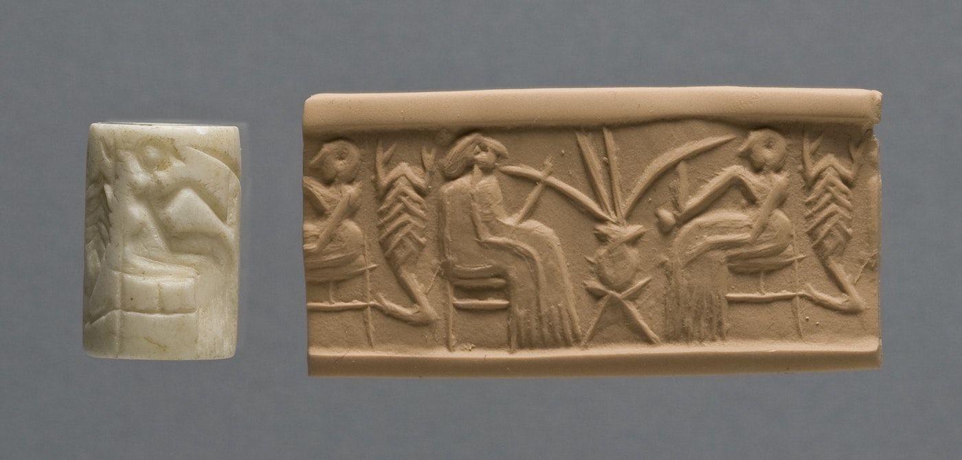 Глинен печат от около 2500 г. Пр. Хр., изобразяващ пиене на бира от един съд.