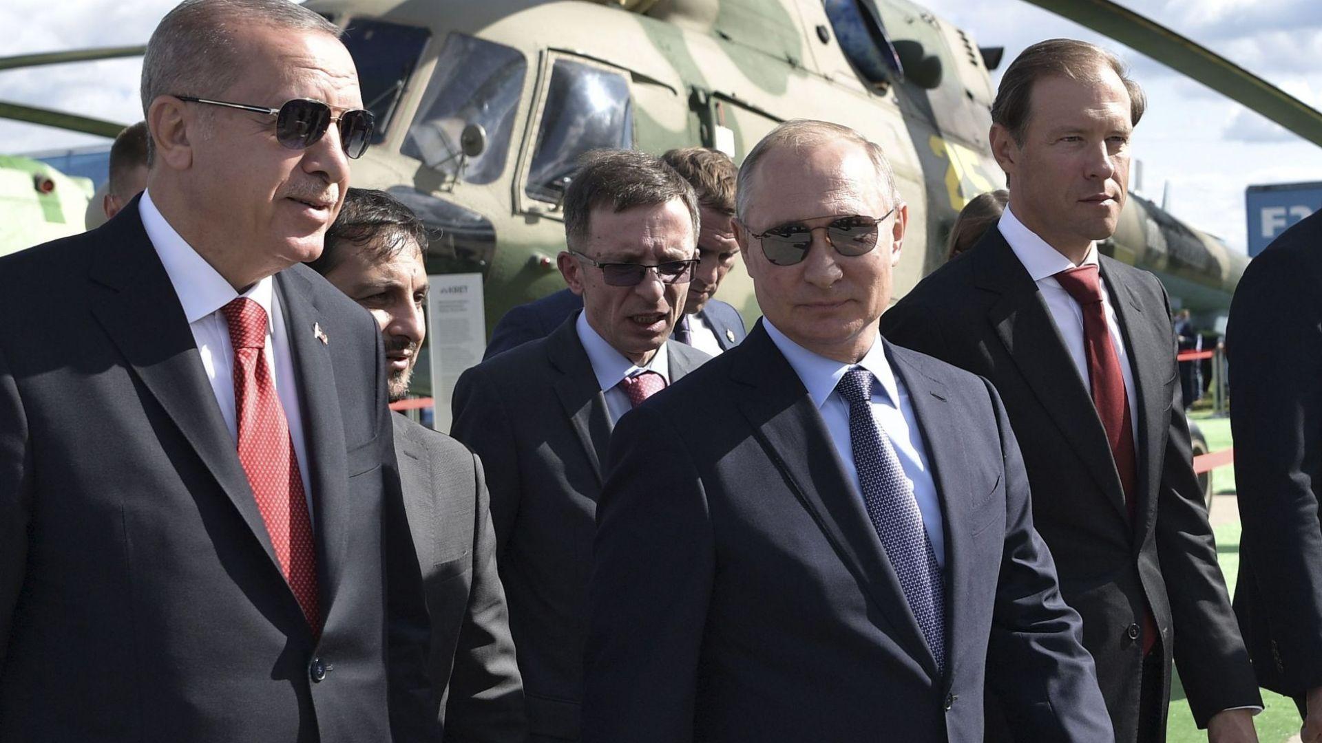 Президентът Реджеп Тайип Ердоган и руският президент Владимир Путин се