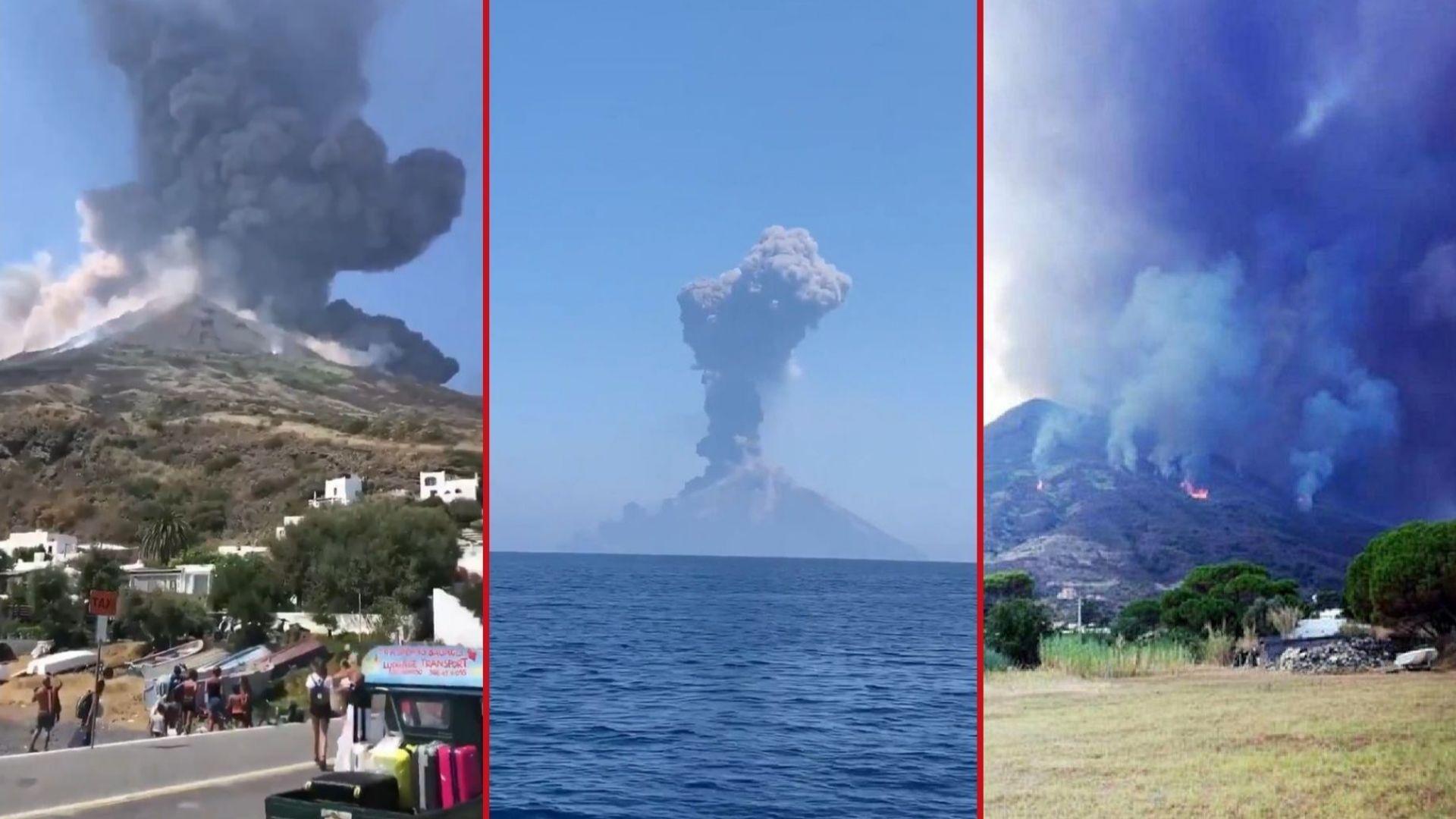 Вулкан изригна край Сицилия и подпали горите на остров Стромболи