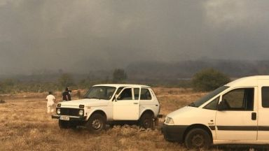 Голям пожар гори в гора между новозагорските села Еленово и Сокол