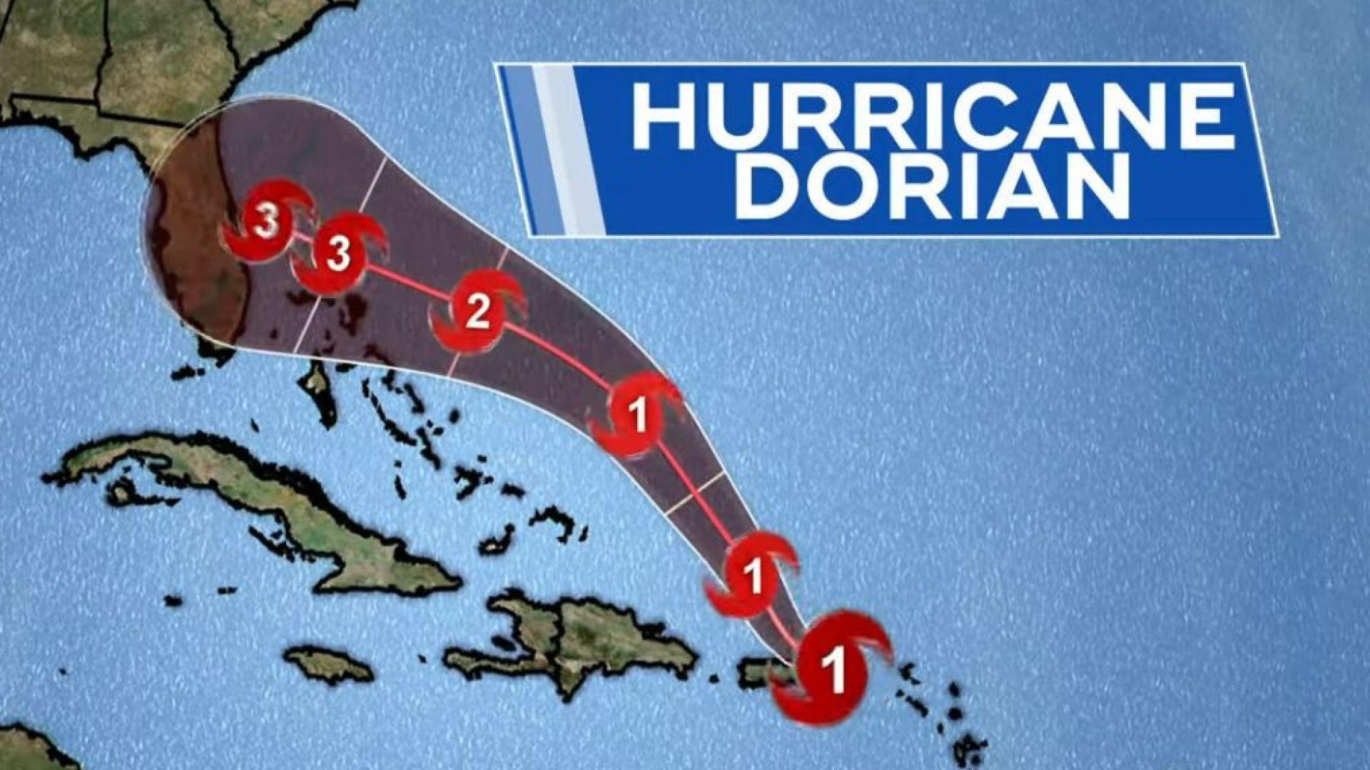 Както изглежда ураганът Дориан ще връхлети Флорида в неделя късно