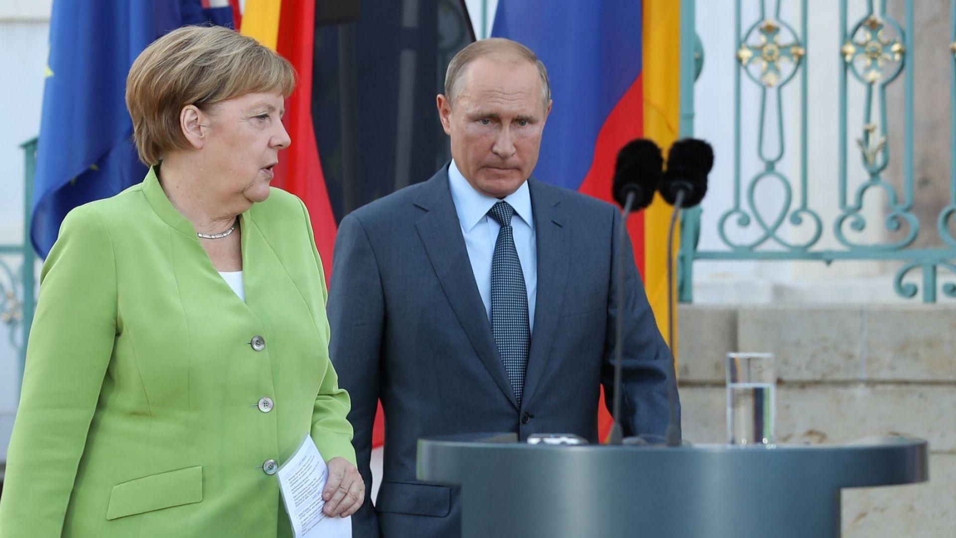 Германският канцлер Ангела Меркел разговаря днес по телефона с руския