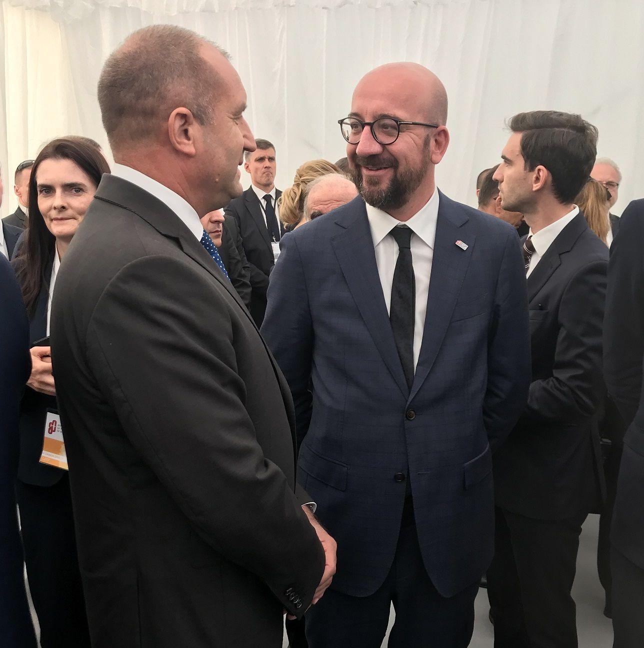Президентът Румен Радев разговаря с министър-председателя на Белгия Шарл Мишел