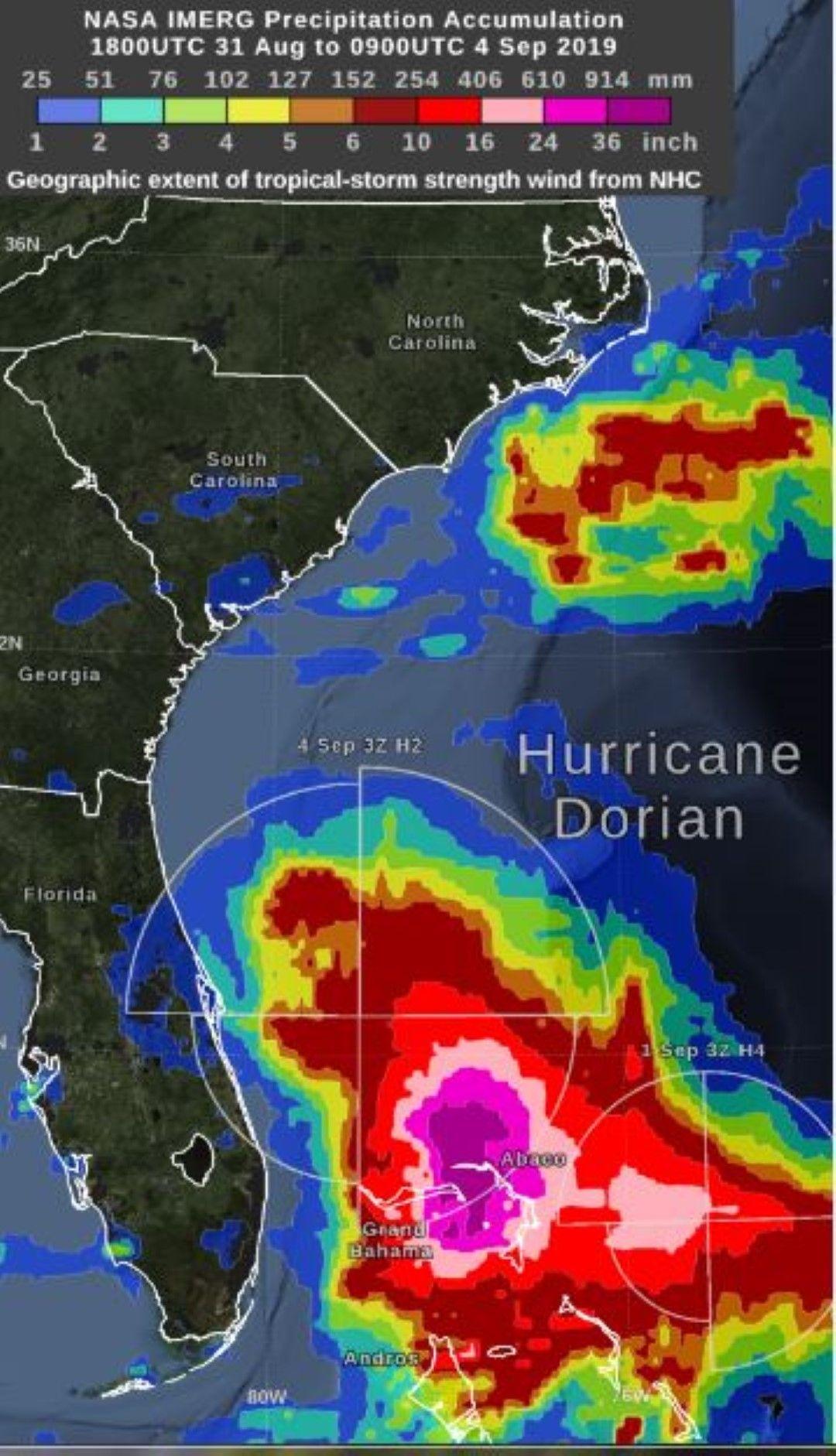 Изображението показва изчислените от НАСА натрупвания на валежи за района на Бахамските острови, засегнат от урагана Дориан от 31 август до 4 септември