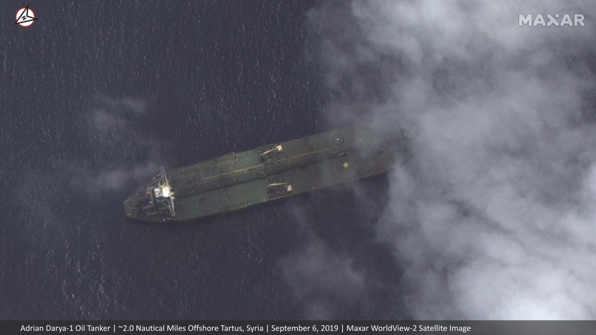 """Сателитни снимки на """"Максар текнолъджиз"""" показват танкера """"Адриан Даря 1"""" край Сирия"""