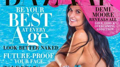 Деми Мур позира гола на корицата на Harper's Bazaar