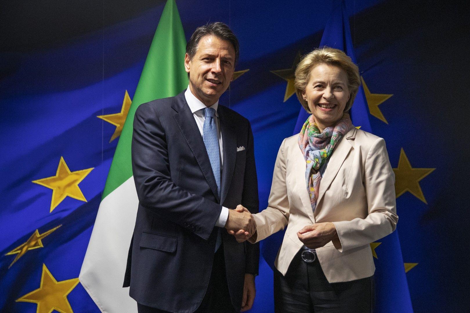 Премиерът на Италия Джузепе Конте се срещна в Брюксел с Урсула фон дер Лайен