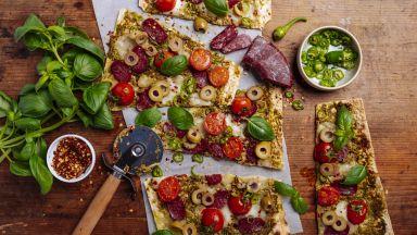 Бърза пица с хляб лаваш и суджук